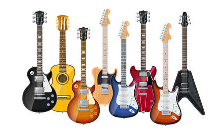 acoustic and electric guitars set of vector icon illustration isolated on white background EPS10. Transparent objects and opacity masks used for shadows and lights drawing