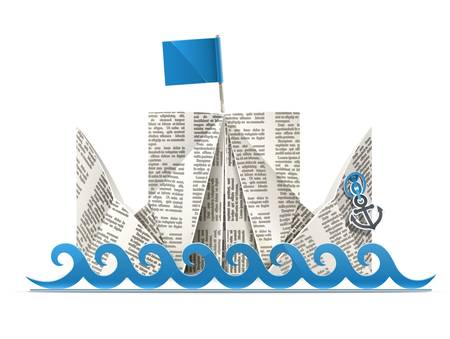 ship with flag paper origami toy illustration isolated on white background.