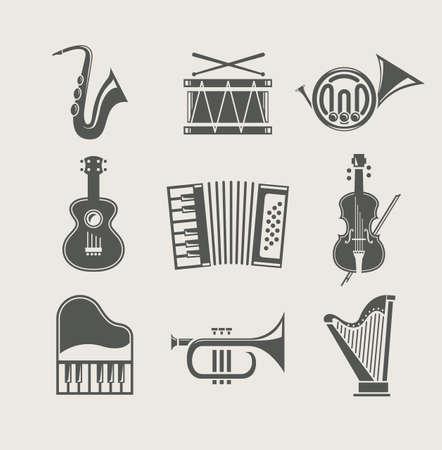 instruments de musique: instruments de musique d�finies d'ic�nes Illustration