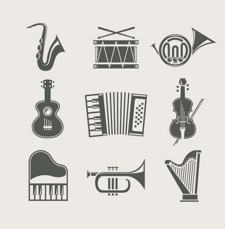musical instruments set of icons Vector