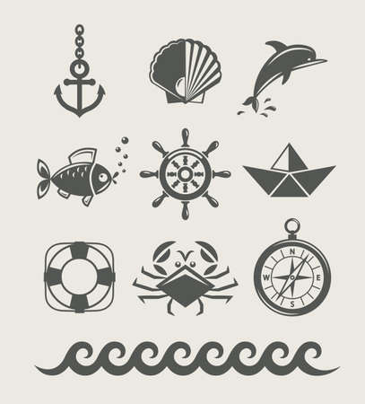 caracolas de mar: conjunto de mar y marina símbolo de la ilustración, icono, aislado Vectores