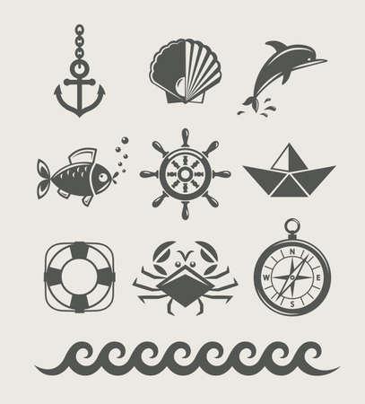 sea and marine symbol set of icon illustration isolated
