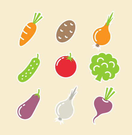 vegetables set of icons Stock Vector - 14413629