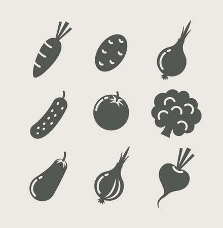 eggplants: vegetables set of icons