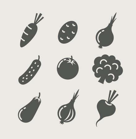 berenjena: verduras conjunto de iconos Vectores