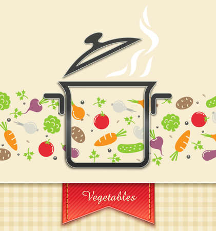 pan with vegetable, food background Vector