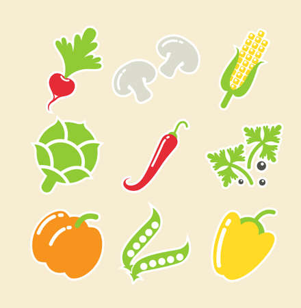 capsicums: vegetables set of icons