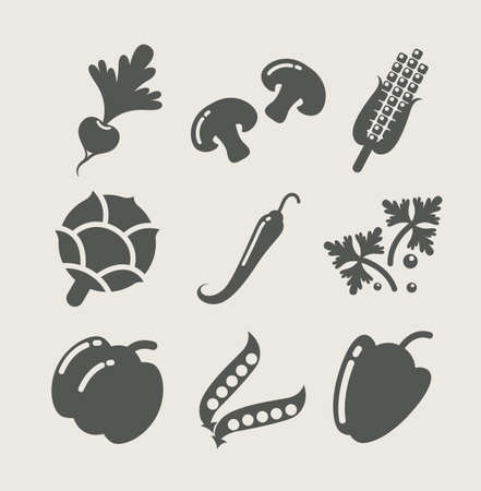 maize: vegetables set of icons