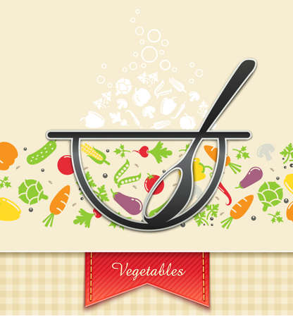 plate with vegetable, food background Vector
