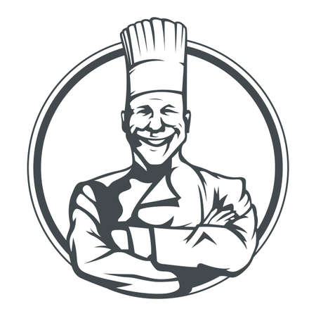 smiling cook in ring vector illustration isolated on white background Vettoriali