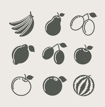 set of fruit food icon icon vector illustration