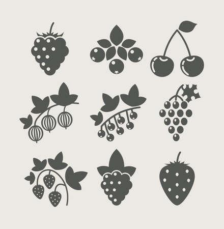 fresa: conjunto de la baya ilustraci�n vectorial icono de los alimentos