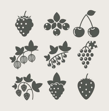 set of berry food icon vector illustration 向量圖像
