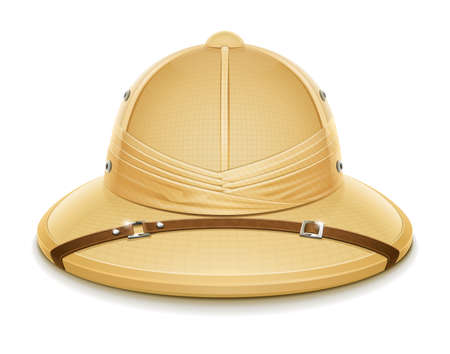 uniform attire: pith helmet hat for safari vector illustration isolated on white background