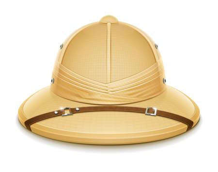 médula: sombrero casco de médula ilustración vectorial safari aislado sobre fondo blanco Vectores
