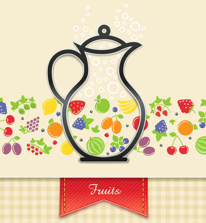 berry fruit: jug with fruit and berry food background vector illustration