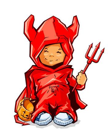 little boy in costume demon for halloween  Vector