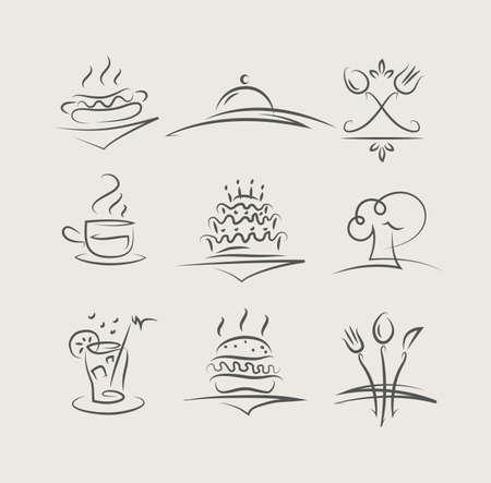 Cibo e utensili set di illustrazione vettoriale icone Archivio Fotografico - 15380295