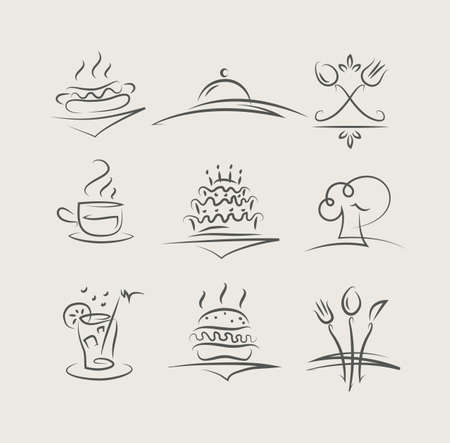 kuchnia: jedzenie i naczynia zestaw ilustracji wektorowych ikon