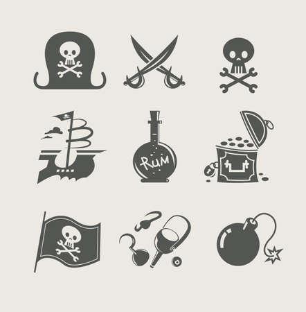 cofre del tesoro: piratas juego de accesorios de ilustración, icono,