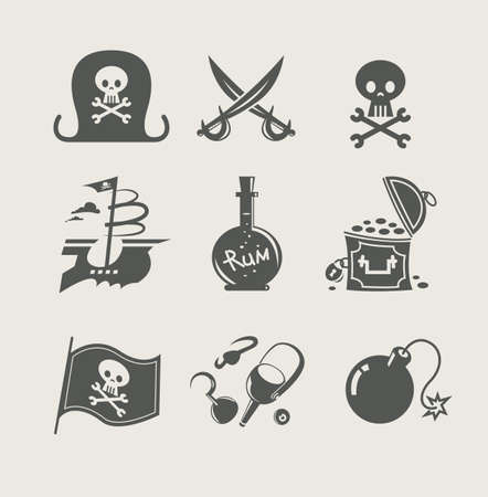 pirates accessory set of icon illustration Vector