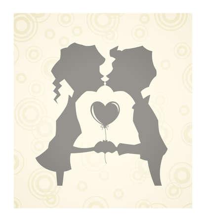 loving children with heart illustration