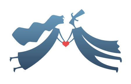 flying man: loving man and woman with heart