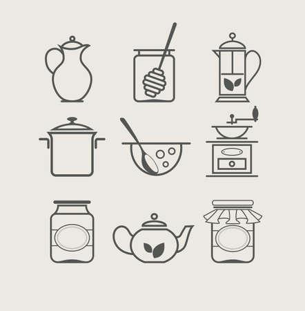 tea kettle: tableware set icon