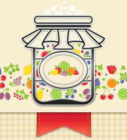 frutta sciroppata: pu� con conserve di frutta e bacche Vettoriali