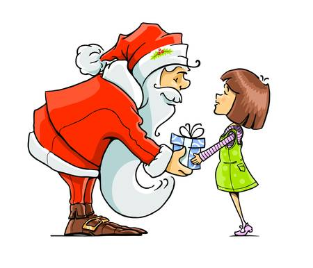 Santa Claus give gift to girl illustration isolated on white background Stock Vector - 15776394