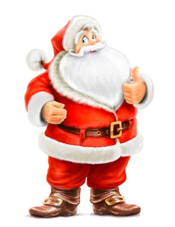 Santa Claus show ok isolated on white background Stock Photo - 15847212