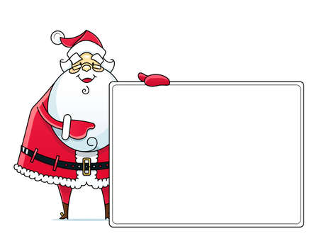oldman: Santa Claus with sign illustration isolated on white background