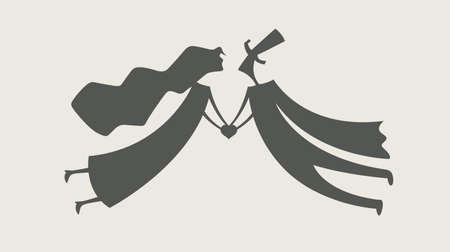damsel: loving man and woman with heart vector illustration Illustration
