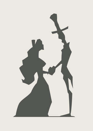 suitor: retr� loving couple tenere illustrazione vettoriale cuore