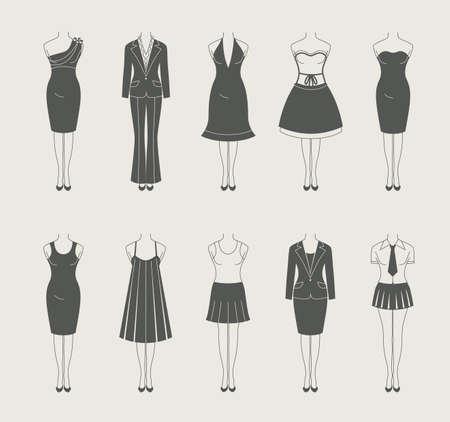 dress suit: female clothes set icon vector illustration