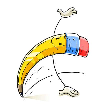 grafito: plomo sonriente caricatura ilustración lápiz aislados en fondo blanco Vectores