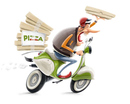 fast delivery: man delivering pizza on bicycle illustration isolated on white background Stock Photo