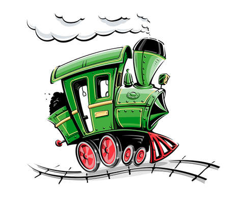 transportation cartoon: green retro cartoon locomotive vector illustration isolated on white background