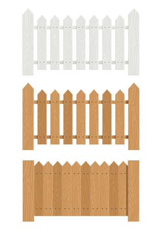 on the fence: wooden fence set of vector illustration EPS10. Transparent objects and opacity masks used for shadows and lights drawing