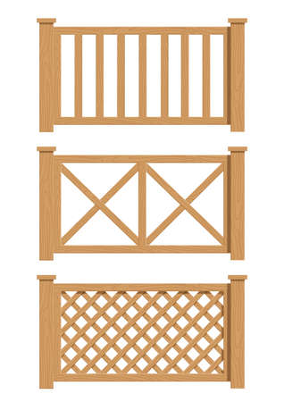 opacity: wooden fence set of vector illustration EPS10. Transparent objects and opacity masks used for shadows and lights drawing
