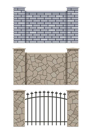 opacity: brick and stone fence set of vector illustration EPS10. Transparent objects and opacity masks used for shadows and lights drawing