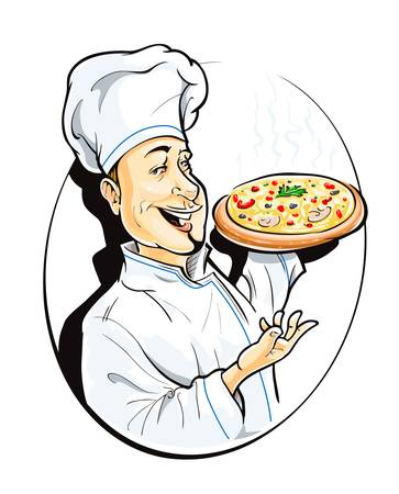 cook with pizza vector illustration isolated on white background Vector