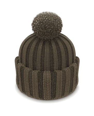 winter knitted bubble hat vector illustration