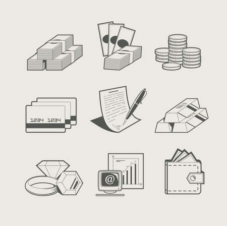 bank note: money and jewellery set of icon vector illustration Illustration
