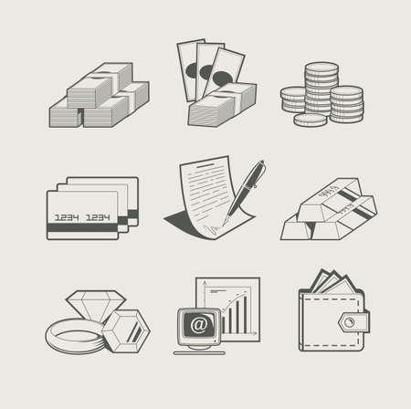 Zestaw pieniędzy i biżuterii z ilustracji wektorowych ikon