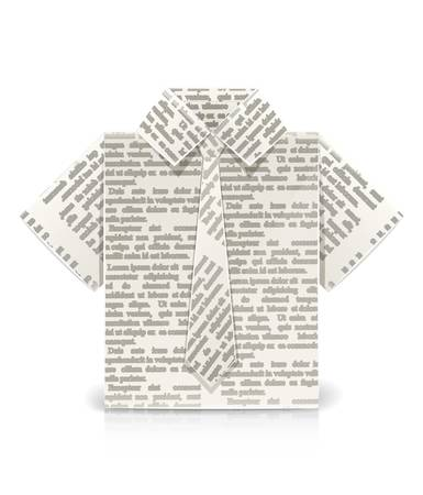 shirt origami toy vector illustration isolated on white background. Transparent objects and opacity masks used for shadows and lights drawing