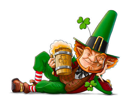 patricks day: duende Leprechaun con la cerveza para la ilustraci�n d�a de San Patricio aislado en el fondo blanco Foto de archivo