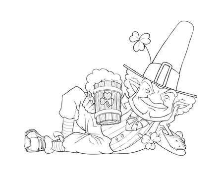 patricks day: duende Leprechaun con la cerveza para la ilustraci�n d�a de San Patricio aislado en el fondo blanco Vectores