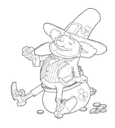 elf leprechaun smoking pipe for saint patrick's day illustration isolated on white background Stock Vector - 17584022