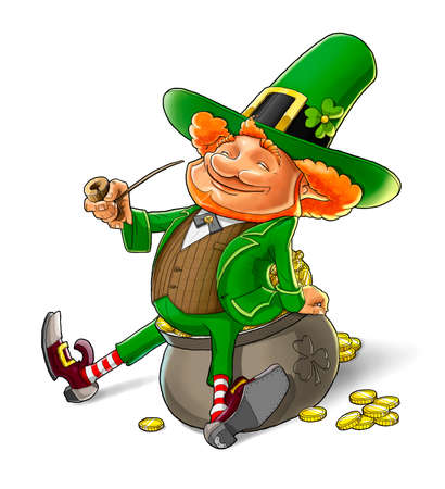 leprechaun background: elf leprechaun smoking pipe for saint patricks day illustration isolated on white background